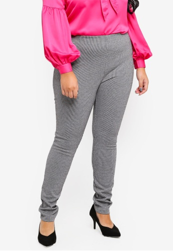 34c342dfb90 Violeta by MANGO grey Plus Size Micro Houndstooth Leggings  68155AAAEBFBFFGS 1