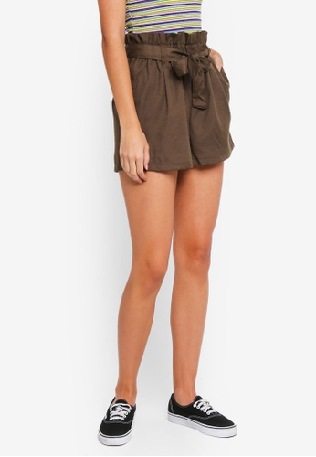Factorie brown Paperbag Tie Shorts 706FFAA2ABB25CGS_1