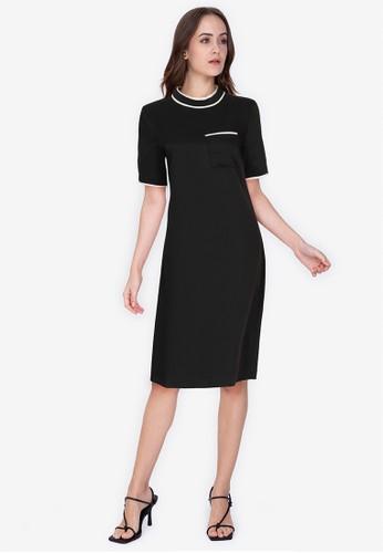 ZALORA WORK black Contrast Piping Dress 67051AA2202393GS_1