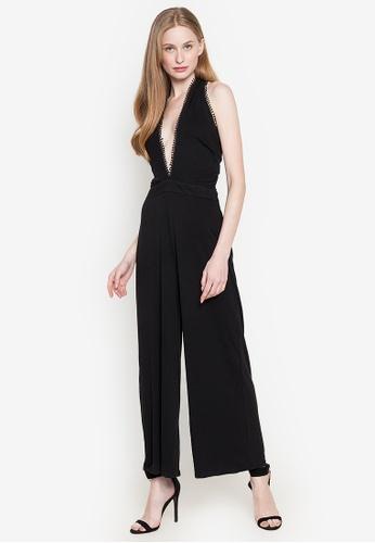 Andi + Olivia black Halter Pompom Jumpsuit 0944DAA105E870GS_1