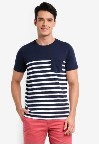 Brooks Brothers 海軍藍色 短袖條紋印花口袋T恤 9E1FDAAE4552F6GS_1