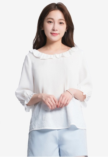 Yoco white Embroidered Lace Ruffled Blouse 15429AAB148089GS_1