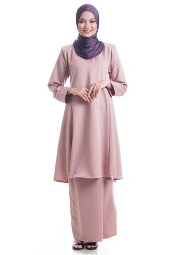Ashura brown and beige Hanaa Kurung Pahang ADEFDAA741AC1AGS_1