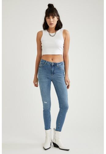 DeFacto blue High Waist Ripped Skinny Jeans 6E38CAA53B437BGS_1
