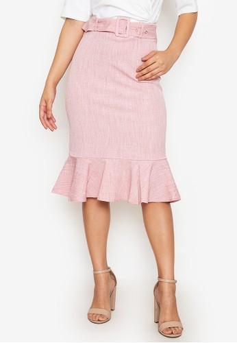 ZALORA WORK pink Belted Fluted Hem Skirt B8AAEAA7771914GS_1