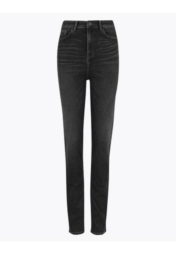 MARKS & SPENCER black M&S Sophia High Waisted Straight Leg Jeans 11F0EAA7C3072CGS_1
