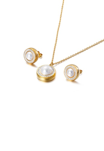 Glamorousky white Fashion and Elegant Plated Gold Geometric Round White Imitation Pearl 316L Stainless Steel Necklace and Stud Earrings Set with Cubic Zirconia 8E756AC53226A2GS_1