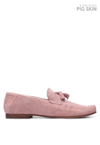 Topman pink Pink Suede Embossed Penny Loafers TO413SH0S7YVMY_1