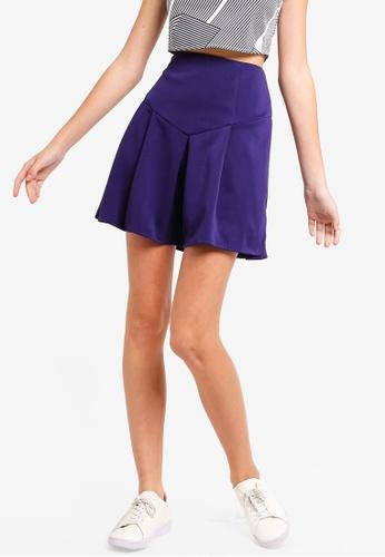 Something Borrowed blue Scuba Pleated Skirt 3C9A8AA67BE25DGS_1