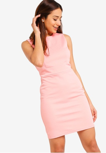 ZALORA pink Textured Sheath Dress A16A7AADCFEE13GS_1
