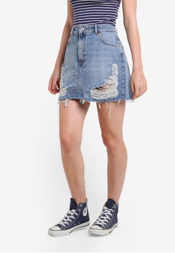 TOPSHOP blue Moto Rip Denim Mini Skirt TO412AA71ERKMY_1
