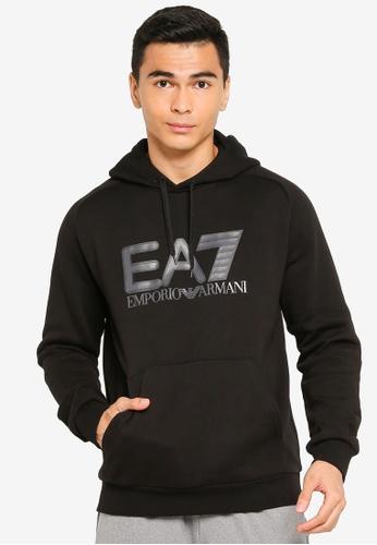 EA7 black Train Visibility Hoodie CC396AA27FA0F3GS_1