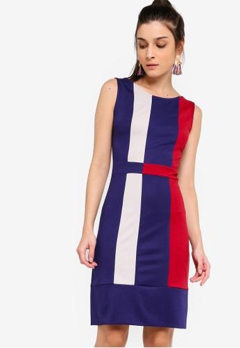 ZALORA 藍色 and 多色 Colour Block Sheath Dress C5750AA4E83B51GS_1