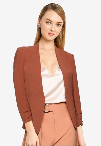 FORCAST brown Lexi Ruched Sleeve Blazer 292FFAA8250BC3GS_1