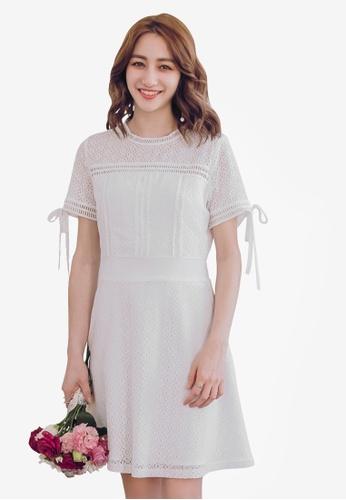 Yoco white Lace Cut-Out Skater Dress B0BF6AA6189C91GS_1
