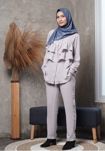 INR Your Hijab Style grey Ameera One Set 59DABAA71DF411GS_1