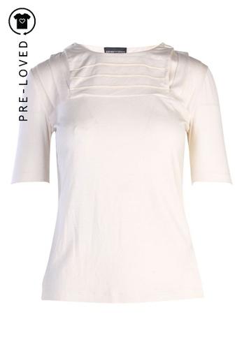 Emporio Armani white Pre-Loved emporio armani Cream Top With Button Collar 417A2AA1207C42GS_1