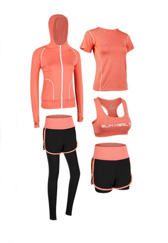 Sunnydaysweety orange Sports Bra, Top, Tights, Shorts and Jacket Set A081027OR 7C061AA94CAF22GS_1