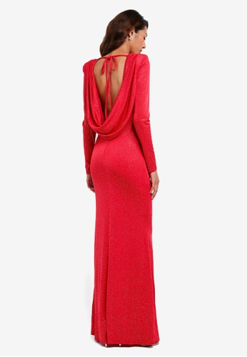 Goddiva red Glitter Cowl Back Maxi Dress With Sleeves 8FF88AA4AFD718GS_1