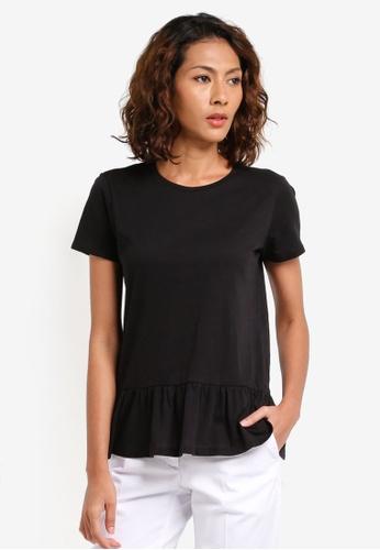 Sisley black Ruffled T-Shirt CC1D9AAA501661GS_1