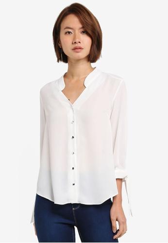 Dorothy Perkins white Petite Ivory Collarless Shirt 45E5EAA76D71A3GS_1