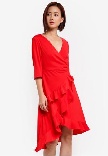 ZALORA red 3/4 Sleeve Asymmetrical Wrap Dress 2EAF6AA2083D02GS_1