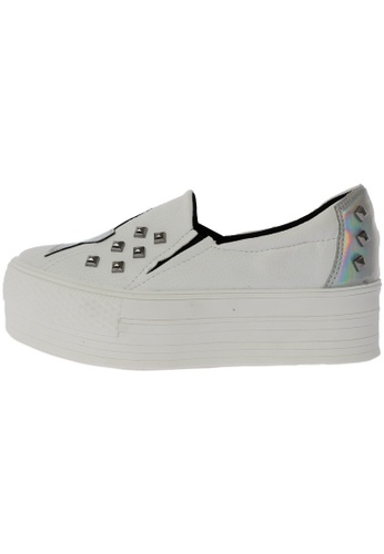 Maxstar Star Span Synthetic Leather Taller Insole Studed White Platform Sneakers US Women Size MA168SH06EABHK_1