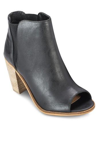 Evie 露趾zalora 心得木製粗跟踝靴, 女鞋, 鞋