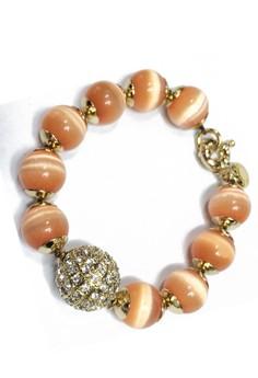J Crew Orange Stone Bead Bracelet with Pave Accent