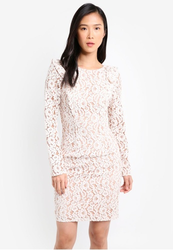 Little Mistress white Lace Bodycon Dress LI976AA0SHR4MY_1