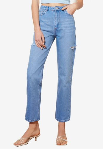 Trendyol 藍色 刷破High 腰圍 Straight 牛仔褲 B6B93AACB6A41BGS_1