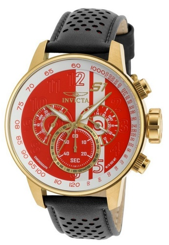 INVICTA gold Invicta S1 Rally Men 48mm Case Black, Brown, Red Leather Strap White, Red Dial Quartz Watch 19907 w/ Cap IN968AC0FBSDSG_1