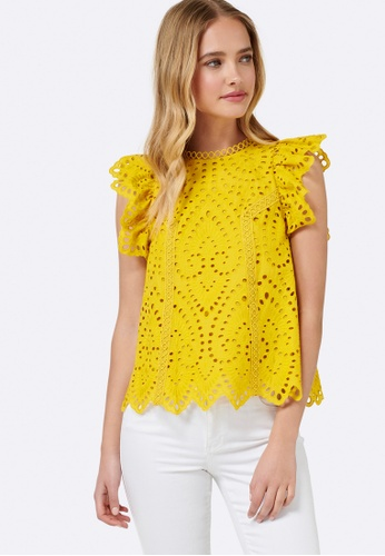 Forever New yellow Peggy Broiderie Top 42DCAAAFF42E1FGS_1