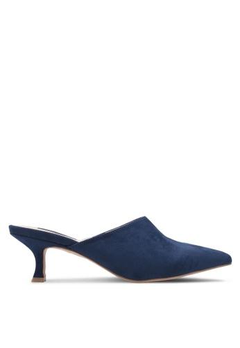 ZALORA blue and navy Kitten Mule Heels 8DA44ZZ4567699GS_1