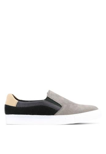 JAXON grey Faux Suede Leather Colour Block Slip Ons 3F57CSHE5D3E91GS_1