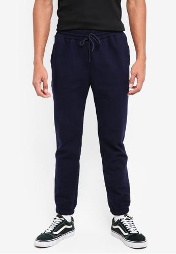 UniqTee 海軍藍色 基本休閒抽繩長褲 9A0A2AA24362FDGS_1