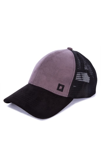 Penshoppe grey Suede Trucker Cap With Embroidery 7F9B0AC5381C29GS_1