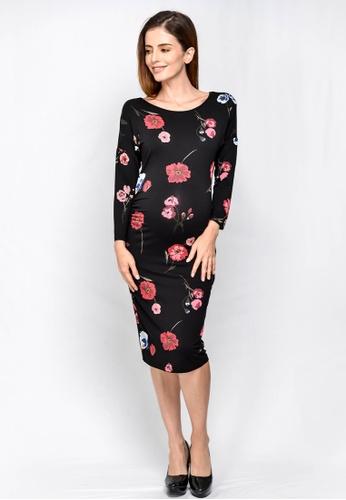 4cb591ea56f32 9months Maternity black Black Dolman Sleeve Maternity Midi Dress  DA391AA09F1E50GS_1