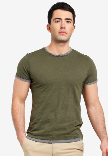 OVS green Faux Layered Cotton T-Shirt 111CCAAC69125DGS_1