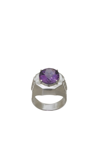 Tomei White Gold 375 9k Amethyst Diamond Men Ring G60000021