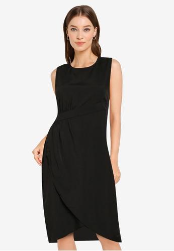 ZALORA WORK black Asymmetric Detail Tulip Hem Dress B4EC8AAB694321GS_1