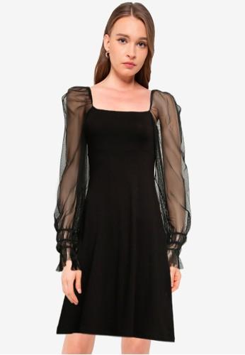 Dorothy Perkins black Black Mesh Sleeve Fit & Flare Dress 2EC8BAAC249820GS_1
