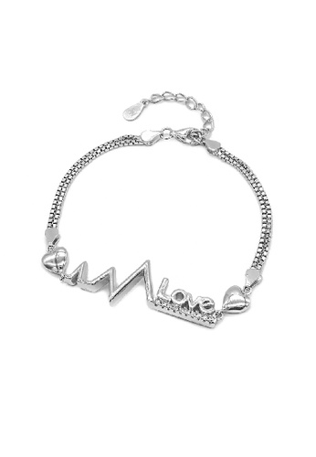 Silverworks silver Heart, Pulse And Love Design Charm In Double Box Chain Langley Bracelet DFC52ACA630D16GS_1