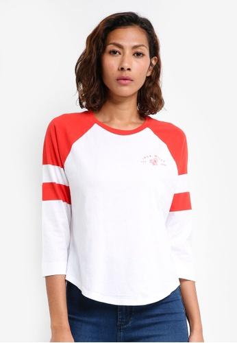 Jack Wills red Brombie Raglan T-shirt CB2B5AA9BEB9A9GS_1