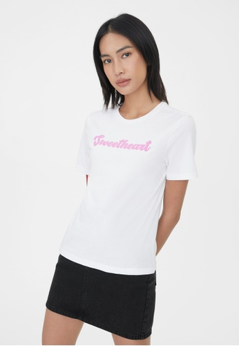 Pomelo white Sustainable Cotton Sweetheart Graphic Tee - White FA7D3AA18350C1GS_1