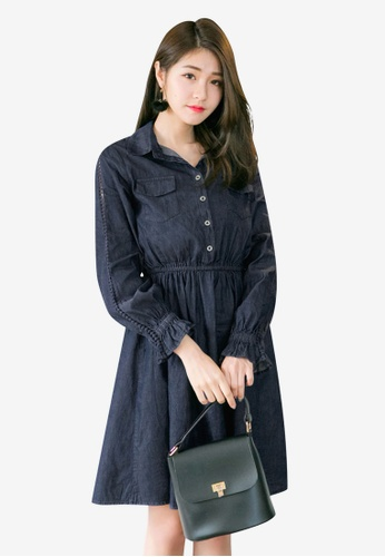 Tokichoi navy Front Pocket Collared Dress 5432EAA380EE9AGS_1