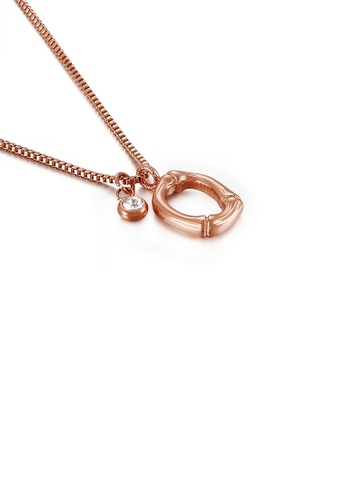 Glamorousky white Fashion Simple Plated Rose Gold English Alphabet O 316L Stainless Steel Pendant with Cubic Zirconia and Necklace F0A1DAC1B49DDDGS_1
