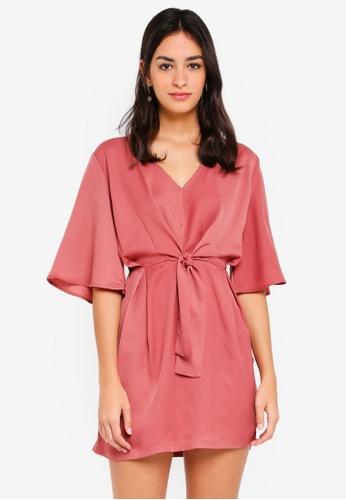 ZALORA pink Self Tie Kimono Dress D7D90AA5892BCCGS_1