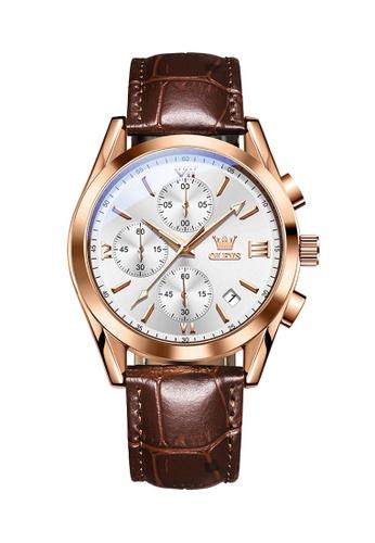 OLEVS brown Olevs Grand Lumino Men Chronograph Wrist Watch 17750AC5A75CF2GS_1