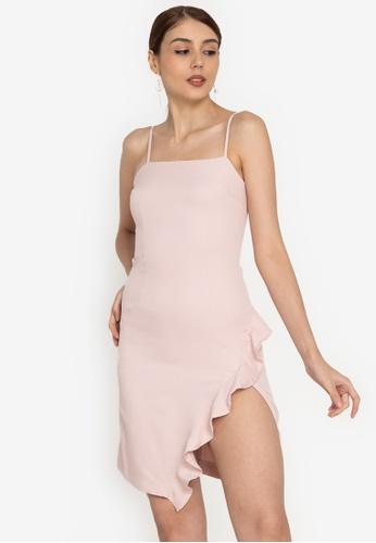 ZALORA OCCASION pink Cami Ruffle Mini Dress 98B88AAD172884GS_1